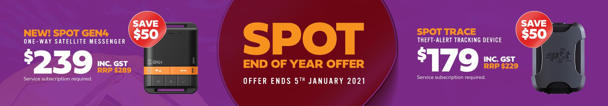 spot end of year offer. new! spot gen4 $239 inc gst. spot trace $179 inc gst.