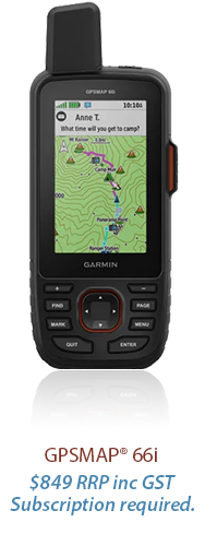 GPSMAP® 66i. $849 rrp inc gst. subscription required.